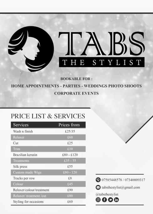 Tabs - Price list 2